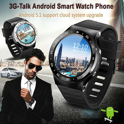 Bluetooth S99A Smart Watch Quad Core Android 5.1 Sports Monitor Armband Schwarz