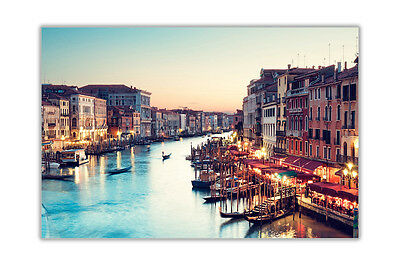 Sunset Over Canal in Venice Italy City Poster Art Prints Wall Pictures