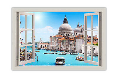 River Pictures of Venice Italy Window Bay View Poster Print Wall Art Decoration