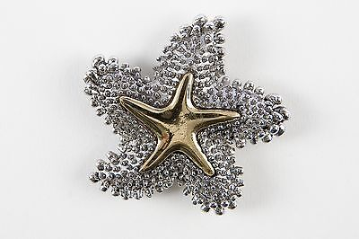 """Lindsay Phillips """"adaptable"""" goldtone and silver knubby STARFISH SNAPS"""