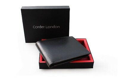 RFID Mens Classic Trifold 12 card holder Premium Grainy Leather Wallet GIFT BOX