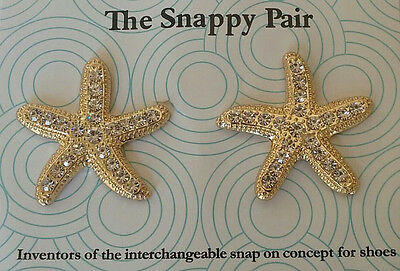 """Lindsay Phillips """"adaptable"""" goldtone STARFISH SNAPS with clear rhinestones"""