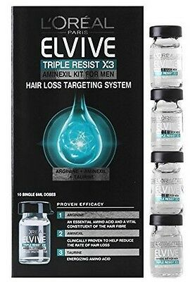 L'oreal Elvive Triple Resist x 3 Aminexil Kit Hair Loos Targeting System For Men