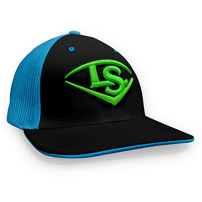 Louisville Slugger LS Logo Baseball/Softball Trucker Hat, Black/Blue/Lime, L/XL