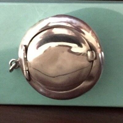 Signed Antique Sterling Silver Pill Box Pillbox, Interior Has Gold Wash Vintage