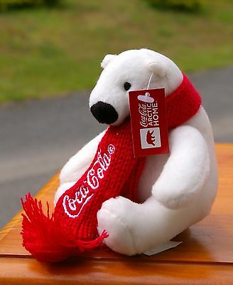 "Coca Cola Polar Bear Plush Arctic Home WWF 4"" Tall Sitting Coke Soda Pop Scarf"