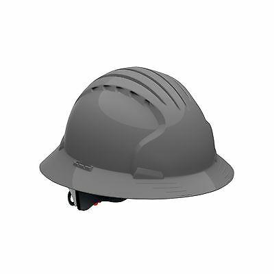 Evolution Deluxe 6161 Full Brim Hard Hat with HDPE Shell Gray Grey VENTED