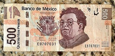 500 Mexican Pesos Banco de Mexico Circulated Banknote 500 Pesos Mexico Currency