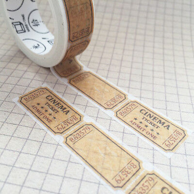 7m Vintage Cinema Ticket 15mm Washi Tape Stationery Scrapbook Wrapping Crafts