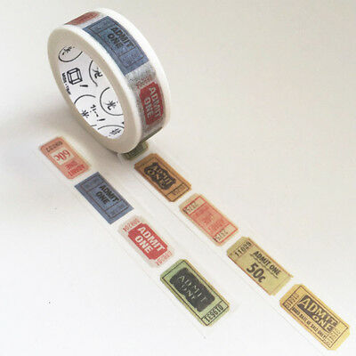 7m Vintage Cinema Fairground Ticket 15mm Washi Tape Stationery Scrapbooking