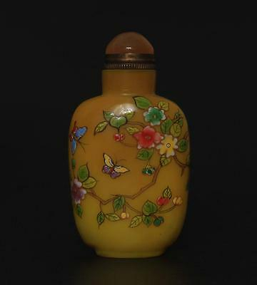 Rare Antique Chinese Carved Coloured Glaze Snuff-bottle Qianlong Marked s3
