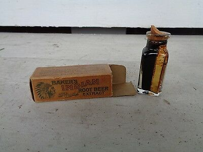 Vintage Baker's Indian Root Beer Extract Sample Bottle Spice Soda Sign