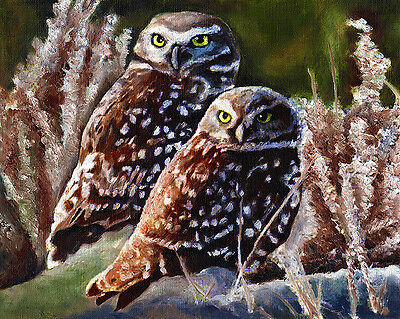 8x10 HORNED OWL /& Moon Bird Signed Art PRINT of Original Oil Painting by VERN