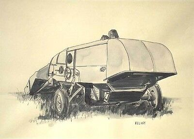 COMBINE 2, collectible fine art machinery drawing, signed and dated Helvey