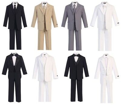 Boys Suits Tuxedos in Khaki/Beige Black Gray White Navy (2T-20) Formal Wear New