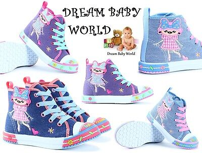 Girls canvas shoes high ankle trainers baby toddler size 3.5 - 12 UK KIDS GIRL