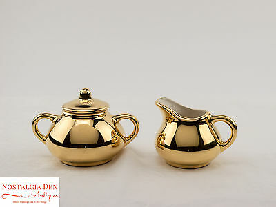 MCM Creamer and Sugar Bowl - 22 Kt Gold Hand Decorated Porcelain