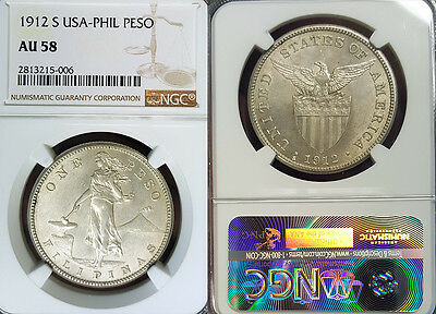 Philippines 1912 S  Peso, Superb, Rare Date NGC 58 PQ, Luster/Sharp Detail.