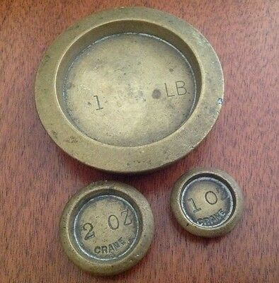 Three Antique Brass Weights - 1Lb, 1Oz And 2Oz
