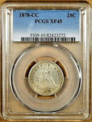 1878-CC PCGS XF45 Seated Quarter - Better Date