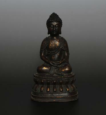 Very Rare Chinese Old Bronze Carved Statue Buddha Sakyamuni QIanlong Marked 80