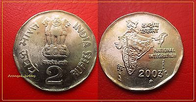 INDIA 2 RUPEES COPPER NICKEL DOUBLE DIE ERROR COIN in EXCELLENT CONDITION