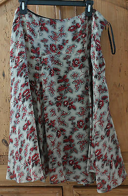 Anne Klein Women's Size 14 Lined Floral A-Line Silk Skirt