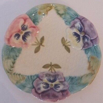 Rare Antique French Majolica Plate - Flowers
