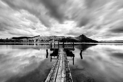 Black and White Pier on Lake Landscape Art Poster Wall Print House Decor Picture