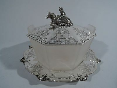 Victorian Butter Dish - Cow & Herdess - English Sterling Silver - Angell - 1849