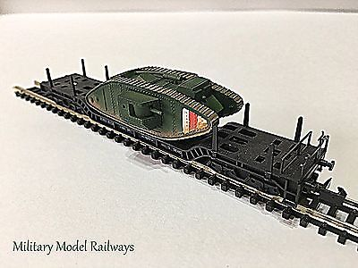 N Gauge Military Arnold Well Wagon British MKiV Male Tank (Metal) (MMR100)