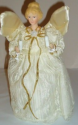"Victorian ANGEL Christmas Tree TOPPER w/porcelain head 10 light 9.25""H"