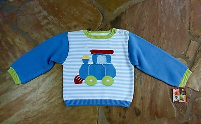 NEW Hand Knit Zubels Train Sweater 3 3T Boys Blue