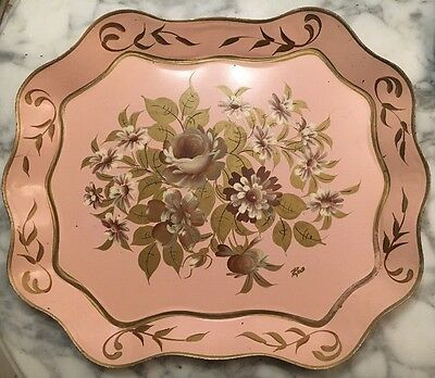 Antique Vintage TOLEWARE Tole Ware Hand Painted Serving Tray Floral Pink Gold