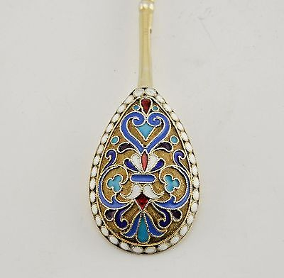 Antique Imperial Russian 84 Silver Cloisonne Enamel Teaspoon Moscow 1889