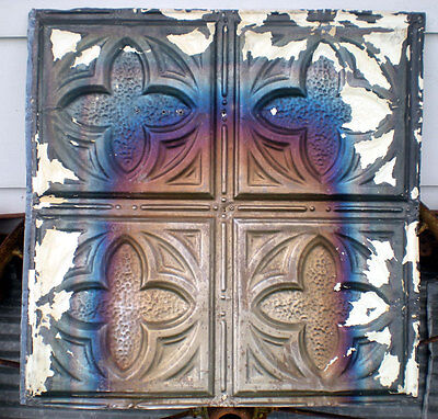 SALE Iridescent Antique Gothic Victorian Ceiling Tin Tile Chic Clover Quatrefoil