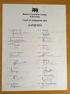 1994 Sri Lanka Touring team Signed x all 16 to Zimbabwe on official Team sheet