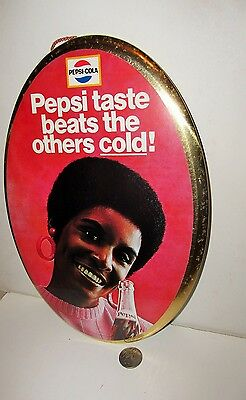 PEPSI-COLA 1960's OVAL  BUTTON SIGN **AFRICAN AMERICAN WOMAN**