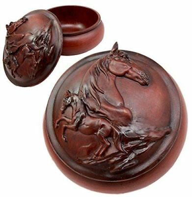 Collectibles Faux Wood Stallion Horse Galloping Rounded Jewelry Trinket Box