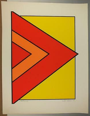 Signed Mid Century Geometric Serigraph Print By John Delulio Artist Proof  #2