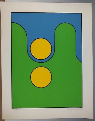 Signed Mid Century Geometric Serigraph Print By John Delulio Artist Proof  #1