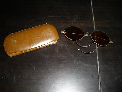 Pair Antique Wire Rim Amber Sun Glasses Round with Wire Ear Pieces with case