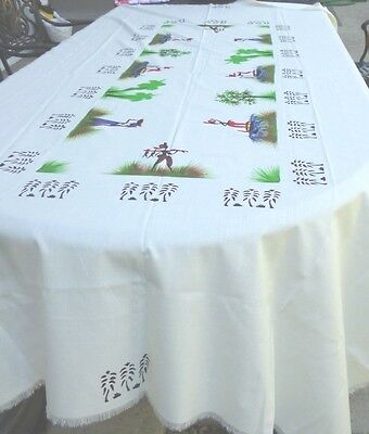 Vintage Tablecloth Haitian Print on Fabric Fringe Hem 56x90