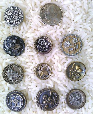 Lot of Victorian Metal Antique Buttons 10pcs. Mostly Flowers B502