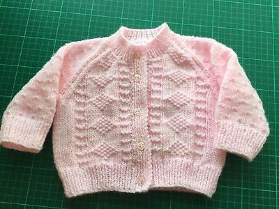 Pink Baby  Girl's Hand Knitted Cardigan, new, size 6 mths