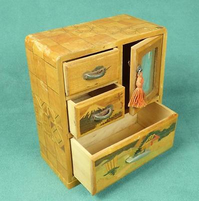 Vintage JAPANESE YOSEGI MINIATURE MARQUETRY CHEST of DRAWERS/ BOX - with Mirror