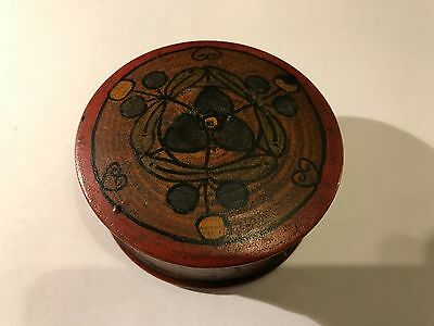 Vintage Small Round Wooden Ladies Hand Painted And Lacquered Pot Box