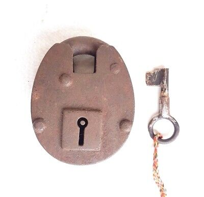 Original 1880's Old Vintage Antique Handcrafted Big Heavy Strong Iron Lock , Key