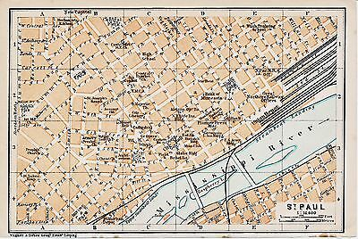 St. Paul MN 1909 small orig. city map + guide (4 p.) Pioneer Press Irving Smith