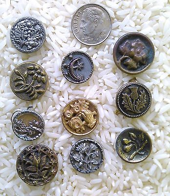 Lot of Victorian Metal Antique Buttons 10pcs. Mostly Flowers B503